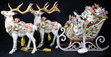 "Fitz and Floyd Enchanted Holiday Tureen Sleigh & 2 Reindeer Figurines 17""H w/Box"