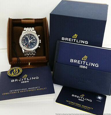 Scarce Breitling Navitimer GMT 46 Chronograph A24322 Watch Box Papers Tags