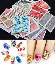 50x Mixed Flowers Water Transfer Nail Art Decals Stickers Decoration sheet hs