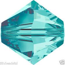 SWAROVSKI 5328 XILION Bicone Beads 4mm: Blue Zircon (50 Perline)