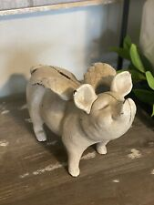 Pig With Wings Flying Cast Iron Rustic Piggy Bank Farmhouse