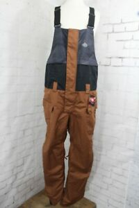 686 Frontier Shell Bib Snowboard Pants, Mens Large, Clay Colorblock New 2022