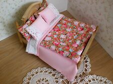 Miniature 1/12th scale dolls house BEDDING SET double pink roses Eiderdown