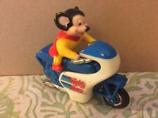Vtg Mighty Mouse Terry Toons Plastic Pull Back Motor Cycle Hong Kong RARE