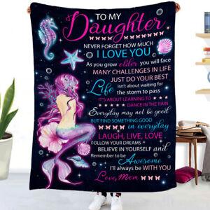 To My Dear Daughter Blanket Flannel Mermaid Printing Blanket Throws Girls Gift
