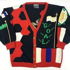 VTG Berek Womens Medium Hand Knit Cardigan Sweater Soccer Goal Sports Christmas