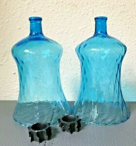 2 HOMCO Swirled Waved PEG Votive Cup Candle Holders w/Grommets Turquoise Aqua