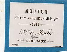 PAUILLAC 1EGCC VIEILLE LITHOGRAPHIE CHATEAU MOUTON ROTHSCHILD1914 RARE§01/01/17§