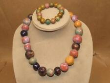 "Vtg Chunky Multi Color Glazed Ceramic Ball Bead 18"" Necklace & Stretch Bracelet"