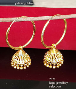 22k Yellow Gold Plated Large Hoop Earrings.bollywood Indian Style NEW LARGE