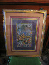 Vintage Likely Antique Persian Mughal Tempura or Watercolor Painting Very Fine