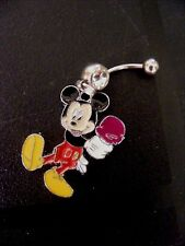 Mickey Mouse Ice Cream Cone Day! Belly Ring Navel Ring 14G Surgical Steel Dangle