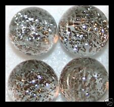 Lot of 6 TWINKLE SILVER GRAY Fused Glass DICHROIC Cabochons XS NO HOLE Beads