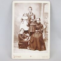 Cabinet Card Photo Photograph Mother 4 children Tabor Iowa IA Jeffryes w/ name