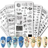 NICOLE DIARY Nail Stamping Plates Valentines Day Dragon Lines Stamp Template DIY