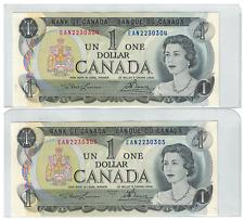 1973 Bank of  Canada 2 Consecutive $1 Dollar Notes UNC EAN Lawson/Bouey