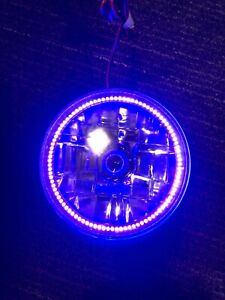"""ORACLE 5.75"""" H5006/PAR46 Sealed Beam Headlight with PURPLE LED Halo Installed"""