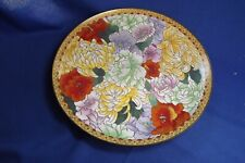 "Vintage Japanese Cloisonne 10"" Wide Charger 3 Chrysanthemums With Many Flowers"
