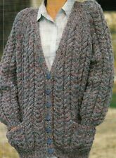 """#218 LADIES CHUNKY CABLE CARDIGAN 30-38""""  VINTAGE KNITTING PATTERN"""