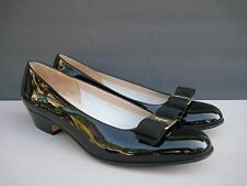 Salvatore Ferragamo Vara Black Patent Leather Bow Pumps, Size 8 2A