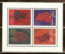 Mint Gambia Year of the Rat Souvenir sheet (MNH)