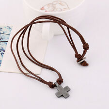 Vintage Leather Alloy Necklace for Men Women Cross Pendant Necklaces Hot Jewelry