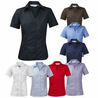 Ladies Womens Plus Size New Casual Work Blouse Shirt Short Sleeve Open Neck