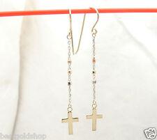 Diamond Cut Rosary Cross Dangle Drop Earrings Real Solid 14K TriColor Gold 1.2gr