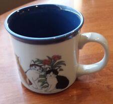 Otagrir Kitty Cat Cup Mug 12 oz Blue Coffee Tea Collectible Adorable Vintage
