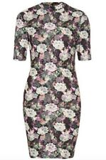 TOPSHOP high neck floral lace print stretch bodycon dress size 6 euro 34 New