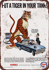 """7"""" x 10"""" Metal Sign - 1965 Esso Put a Tiger in Your Police Car - Vintage Look Re"""