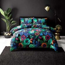 LUISA BLACK flower jungle DOUBLE bed QUILT DOONA COVER SET NEW MOD Linen House