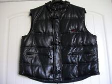 NEW Men Black Leather Julian Puffer Size 2XL Goose Down Vest Jacket Coat Quilted