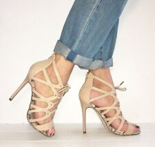 RIVER ISLAND Nude Leather Strappy Lave Up Stilettos Heels Booties Size 5