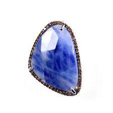 "Sterling Silver Fancy Cut Sapphire & Chocolate Diamond Enhancer Pendant 1.25"""