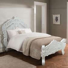 SALE .. UK  3' Single Solid White French style Rococo Bed  .. TOP QUALITY