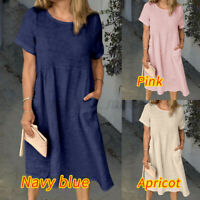 Size Women Cotton Tunic Smock Dress Ladies Summer Loose Holiday Dress Beach 8-26