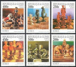 Guinea 1997 Chess Sets/Chessmen/Pieces/Carving/Craft/Sports/Games 6v set n41757