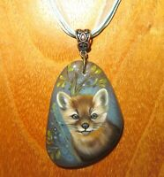Brown SABLE pendant Genuine hand painted Natural STONE signed Gorbachova GIFT