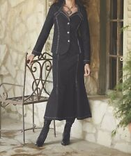 Women's Business meeting Work Black Rhinestone Denim Jeans Skirt Suit Plus 20W2X