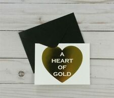 Greeting Note Cards Heart Gold 8 Count Blank