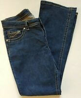 Lee Midrise Fit 1889 Womens Bootcut Dark Wash Denim Stretch Jeans 12 Embroidered