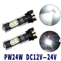 2x Error Free Xenon White PW24W LED Bulbs For BMW F30 3 Series DRL Daytime Light