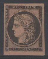 """FRANCE YVERT 3f  SCOTT 3d  """" CERES 20c BLACK ON YELLOW 1862"""" MNH VVF SIGNED N878"""