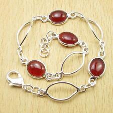 """7.9"""" Boy Friend Gift New 925 Silver Overlay Carnelian Gemstone Bracelet"""