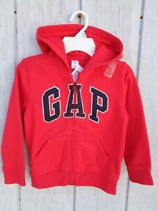 New Gap Arch Zip Hoodie Red Size 2T 3T 4T 5T 2 3 4 5 years Logo Boys Girls