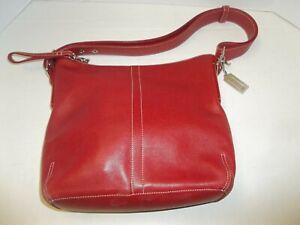 Coach J2S-9326 Red Leather Adjustable Shoulder Strap Bag