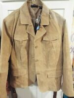 NWT Relativity Brown Suede Genuine Leather Button Front Coat Jacket Size 2X