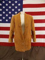 DAVID BENJAMIN Blazer Jacket Vtg Classic Leather Women's Size S Camel