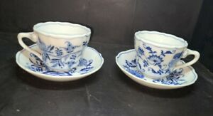 Pair(2) of OVERSIZED BLUE DANUBE CUP & SAUCER JAPAN Rectangle Mark